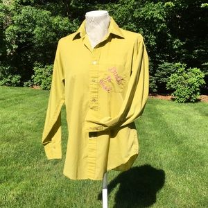 One of a kind upcycled shirt w/ chain stitching